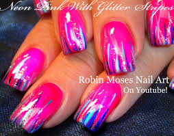 easy neon pink nails glitter striped nail art design