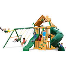 Cedar Playsets Gorilla Playsets Mountaineer Clubhouse Wooden Swing Set Walmart Com