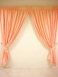 small window treatments bathroom with beautiful orange curtain