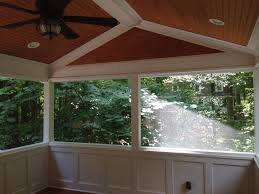 screen porch with wainscoting knee walls custom tongue and groove
