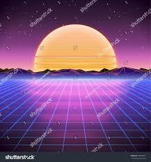 80s retro scifi background sunrise sunset stock vector 550909651