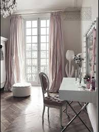 at home with blush gray walls and vanity room