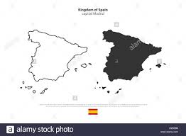 Spain Political Map by Kingdom Of Spain Isolated Map And Official Flag Icons Vector