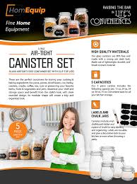 Glass Kitchen Canisters Airtight by Amazon Com Homequip 5 Piece Airtight Canister Set With Clip Top
