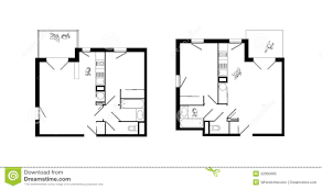 Plan Set Two Rooms Apartment Plans Set Royalty Free Stock Photo Image