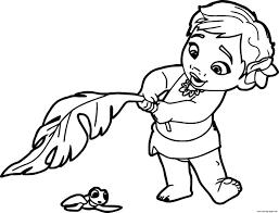 baby moana princess disney coloring pages printable