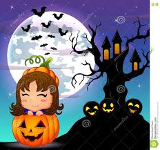 halloween cute background halloween night background with cute little in basket pumpkin