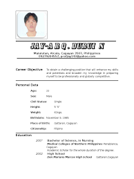 resume examples for job resume nurse