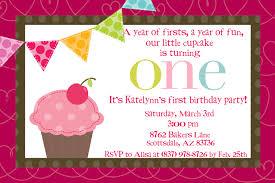 1st Year Baby Birthday Invitation Cards Cupcake Birthday Invitations Plumegiant Com