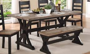homelegance north port trestle dining table two tone black brown