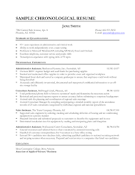 Resume Examples  Chronological Resume Example for Profile with     Resume Examples  Sample Chronological Resume With Summary Of Qualifications And Professional Experience As Consultant Assistant