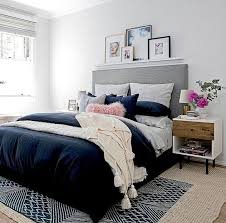 Navy Blue Wall Bedroom Love This Home Pinterest Navy Colour Bedrooms And Lighter