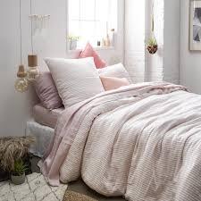 chemin de lit en lin housse de couette réversible forme bouteille pur lin chambray rose