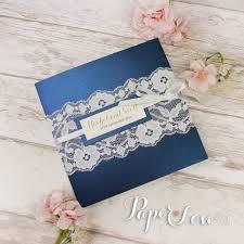 folded invitation navy blue metallic pocket fold rustic wedding day invitation