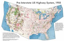 Big Map Of The United States by Large Detailed Map Of Usa Highway System 1955 Usa United