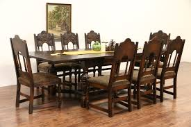sold english tudor carved oak 1925 antique dining set table u0026 8