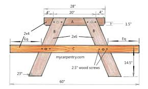Free Wooden Picnic Table Plans by Free Picnic Table Plans 2x6 Outdoor Patio Tables Ideas