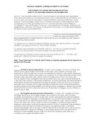 Revocation Of Special Power Of Attorney by Free General Durable Power Of Attorney Georgia Form Adobe Pdf Word