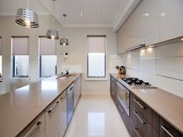 Galley Kitchen Layouts Ideas Kitchen Contemporary White Galley Kitchen Design With Blue Led