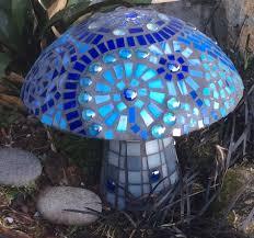 Gazing Ball Fountain Blue Mosaic Mushroom I Made Inspired By All The Beautiful Gazing