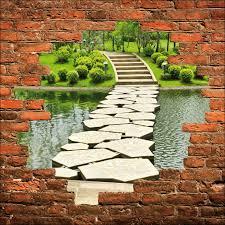 Deco Mur Exterieur Sticker Mural Trompe L U0027oeil Pont Sur L U0027eau Et Escaliers Art Déco