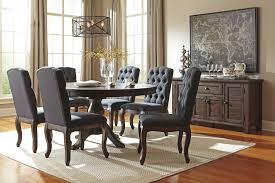 Ashley Furniture Dining Room Chairs 7 Piece Oval Dining Table Set With Upholstered Side Chairs By