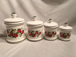 Country Canister Sets For Kitchen Vintage Sears Strawberry Country Kitchen Canister Set Set Of 4