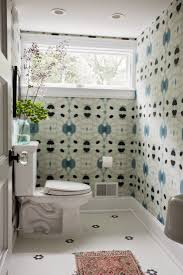 Wallpaper In Bathroom Ideas Indigo Blue And White Patterned Wallpaper In A Bathroom Black