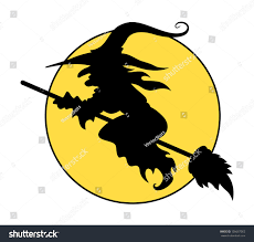 witch silhouette png silhouettes flying witch on broom halloween stock vector 156687053