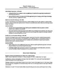 Resume Examples  Resume Sample For Department Manager With Experience History As Operations Manager And Education