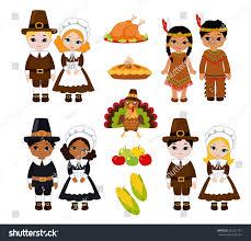 pilgrims on thanksgiving group kids indians pilgrims sharing food stock vector 231821761