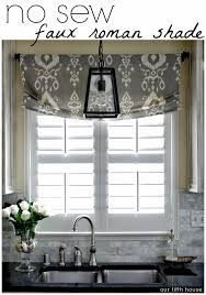 Custom Made Kitchen Curtains by Diy No Sew Faux Roman Shade Our Fifth House Faux Roman Shades