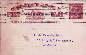 The printed reverse shows that the card was sent from the Commonwealth Club of Adelaide and the date is shown by a purple handstamp    JUL