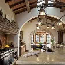 stone arches vault ceiling dining room mediterranean with round