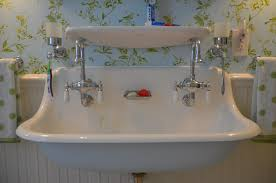 Bathroom Sink Wall Faucets by Bathroom Elegant Trough Bathroom Sink With Two Faucets Nu