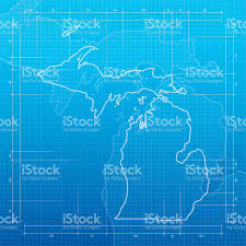 Detroit Michigan Map by Michigan Map On Blueprint Background Stock Vector Art 529428716