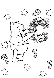 christmas winnie the pooh coloring page cartoon coloring pages
