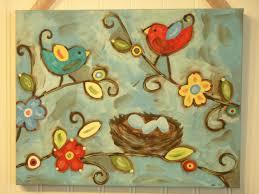bird nest painting canvas primitive folk art 11 x 14 original