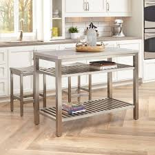 home styles brushed satin stainless steel kitchen island with bar