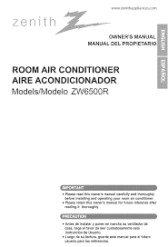 zenith air conditioners zw6500r pdf owner u0027s manual free download