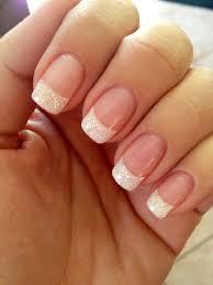 use iridescent white glitter white tips fully dipped in glitter