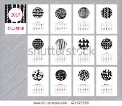 Flowers For Each Month - calendar 2017 hand drawn textures unique stock vector 551067151
