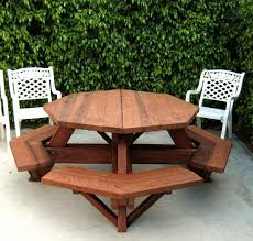 Plans For Wood Picnic Table by Octagon Picnic Table Wood Picnic Table With Attached Bench