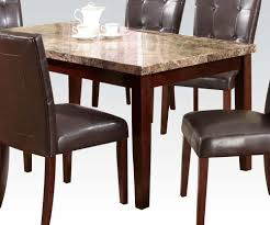 acme granada brown marble top dining table in walnut 17042 by