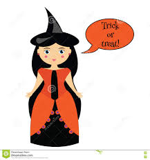 halloween characters clipart cartoon cute witch character in dress and hat in halloween