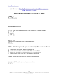 solution manual for biology 12th edition by mader chemical