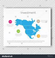 N America Map by Infographic Investment North America Map Presentation Stock Vector