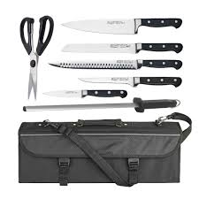 Kitchen Knive Sets by Winco 7 Piece Commercial Grade Stainless Steel Knife Set W Bonus