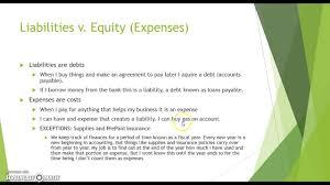 liabilities v expenses youtube