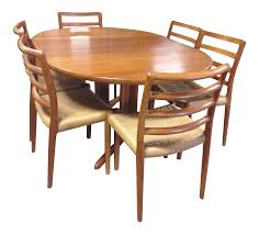 Teak Dining Room Table And Chairs by Danish Teak Dining Table U0026 6 Ladder Back Chairs Chairish
